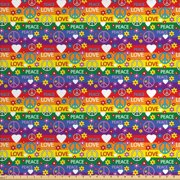 Groovy Fabric by The Yard, Heart Peace Flower Power Political Hippie Cheerful Colors Festival Joyful, Decorative Fabric for Upholstery and Home Accents, by Ambesonne