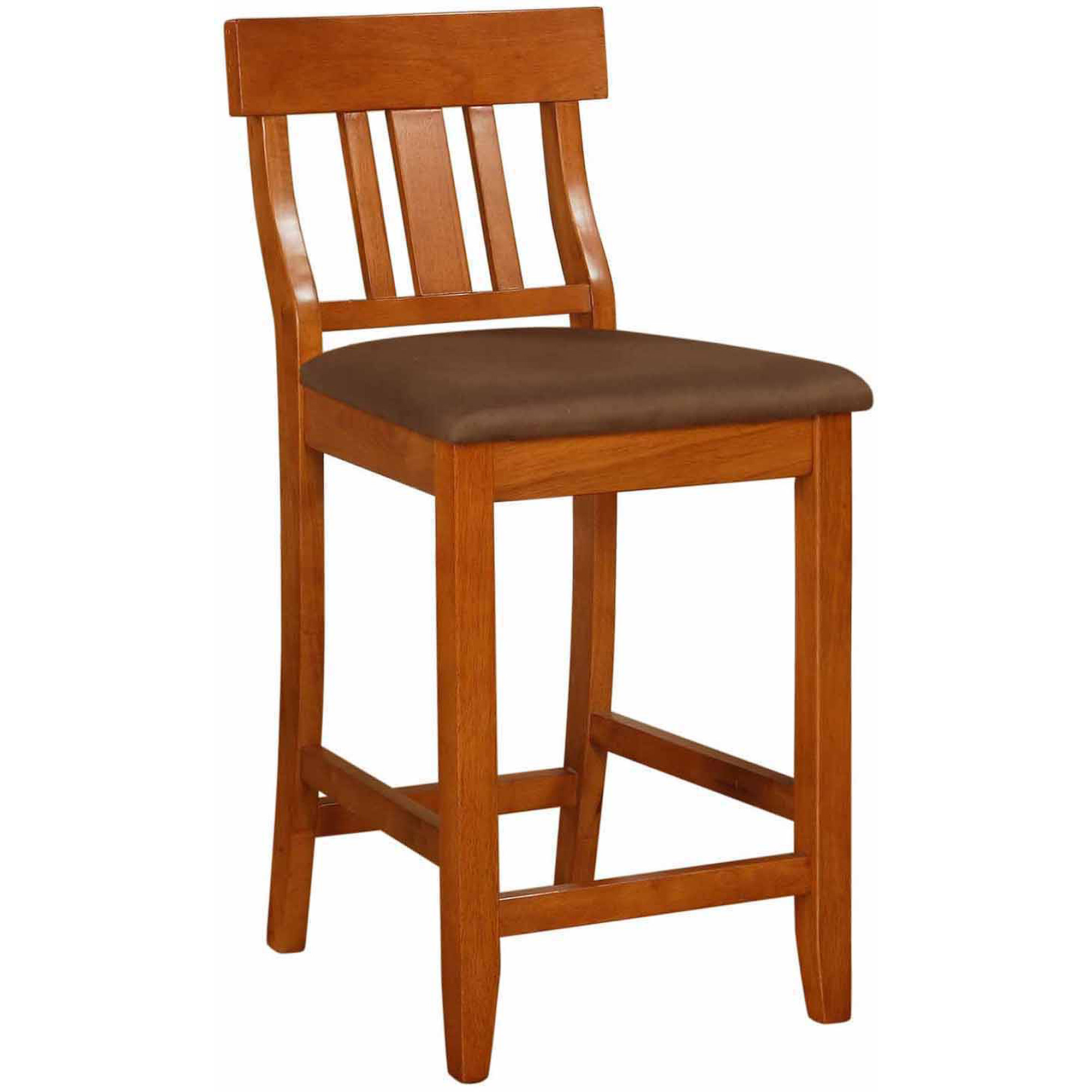 Linon Torino Collection Slat Back Bar Stool, Brown, 30 inch Seat Height
