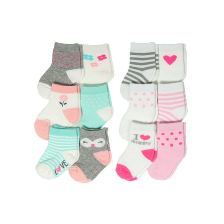 Fashion Crew Sock Set, I Love Mommy and Owl Characters, 12 Pack (Baby - Sock Hop Clothes For Kids