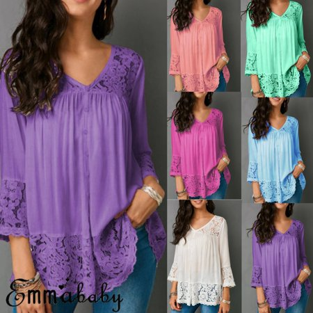 Lace Shift - New Women Long Sleeve Shirt Hollow out Flower Lace Ladies Blouse Tee Tops Plus