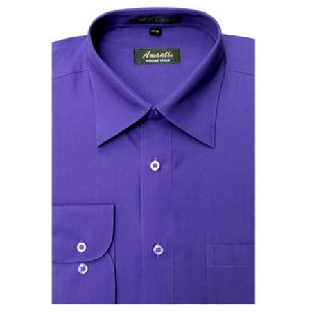 Amanti CL1005-16 1-2x32-33 Amanti Mens Wrinkle Free Solid Purple Dress Shirt - Purple-16 1-2 x 32-33