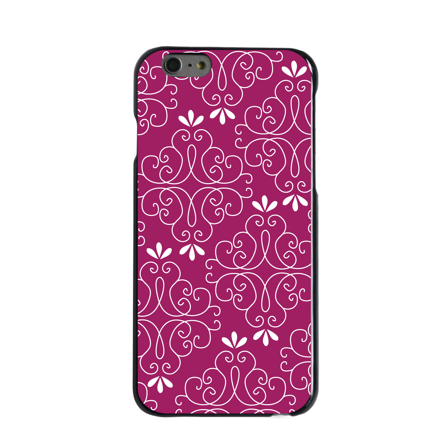 "CUSTOM Black Hard Plastic Snap-On Case for Apple iPhone 6 / 6S (4.7"" Screen) - Dark Fuchsia White Floral"