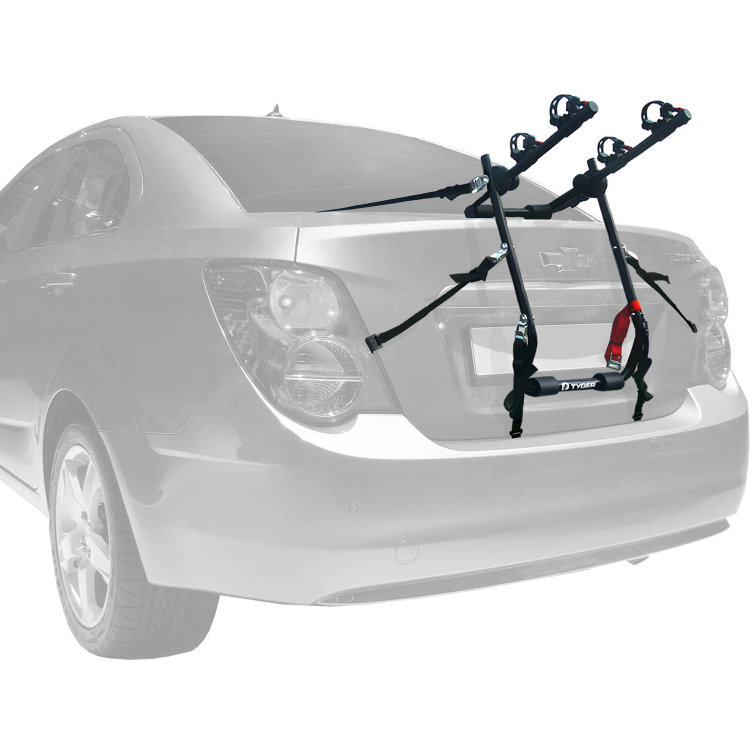 TYGER Deluxe Trunk Mount 2-Bike Carrier Rack for Sedan/Hatchback/SUV/Van, Black