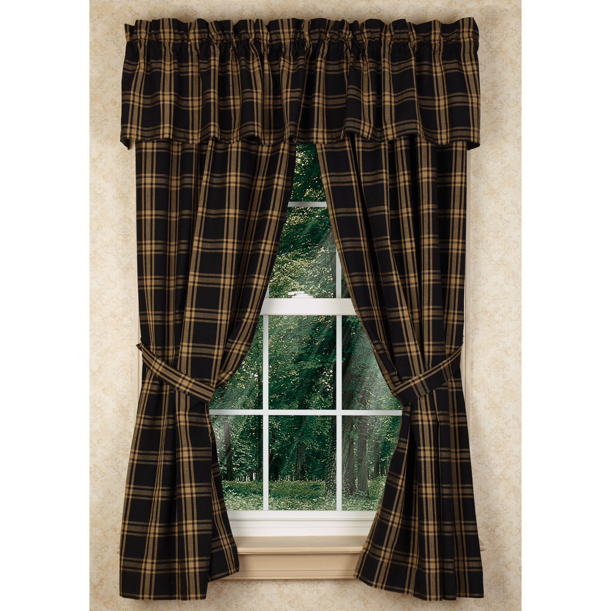 "Classic Black 63"" Country Curtain Panels"