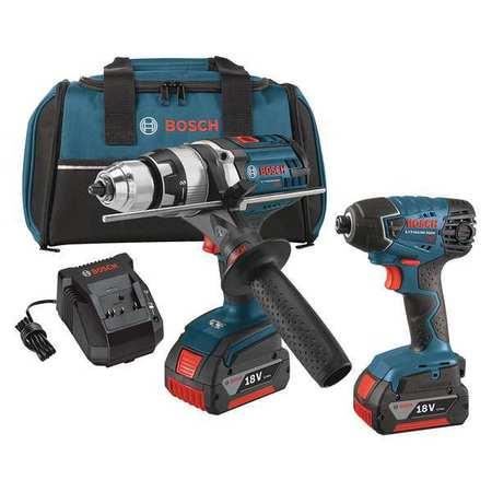 Bosch Cordless Combo Kit,18.0 V,2 Tools,2 Batt CLPK222-181