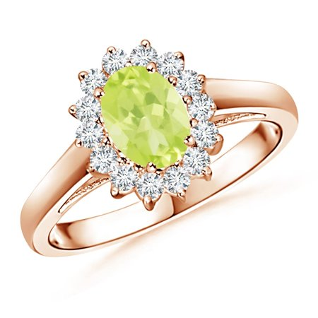 August Birthstone Ring - Princess Diana Inspired Peridot Ring with Diamond Halo in 14K Rose Gold (7x5mm Peridot) - -