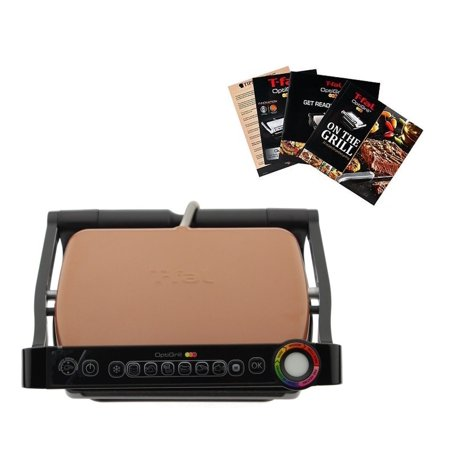 Broan Grill - T-FAL GC704 OptiGrill with Recipe Books Indoor Electric Grill Removable Ceramic Plates -Brown