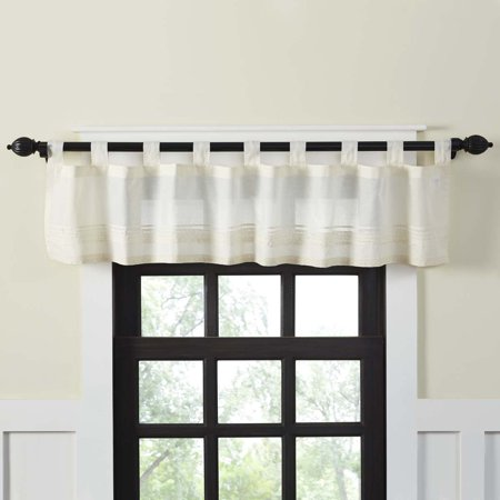 - Creme White Farmhouse Kitchen Curtains Jasmine Tab Top Cotton Embroidered Lace Voile Solid Color 16x72 Valance