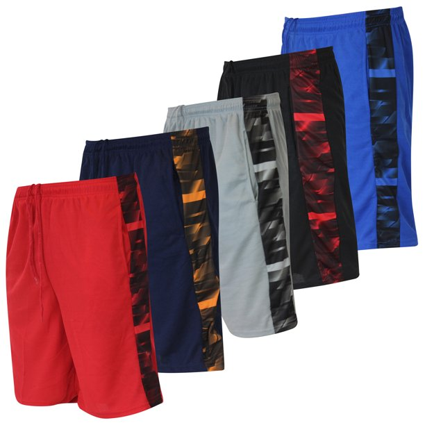 5 Pack Men's Mesh Active Athletic Performance Shorts with Pockets