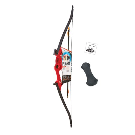 Bear Archery Flash Youth Bow Set with Whisker Biscuit, Armguard, and Arrow Quiver Recommended for Ages 11 and Up – Red - Bow & Arrow Set