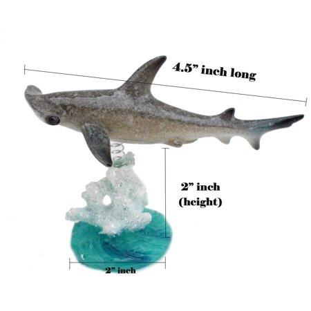 XXXXX [Set of 3] Sea Creatures on Coral Reef Figurines on a Spring Centerpiece ~ Wiggles Jiggles Sting Ray, Dolphin, Shark On Glazed White Green Coral Base Statue New - Coral Reef Centerpieces