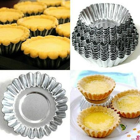 Moderna 10Pcs Aluminum Alloy Egg Tart Mould Cake Cookie Round Pastry
