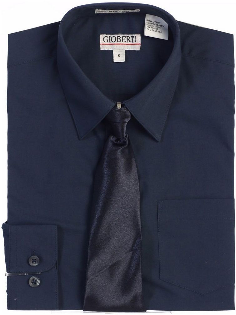 Gioberti Big Boys Navy Solid Color Shirt Tie Formal 2 Piece Set