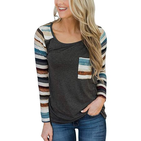 bfa77cd1412 Womens Casual Printed Pattern Striped Color Block Pocket Long Sleeve Round  Neck T Shirts Blouses Tops