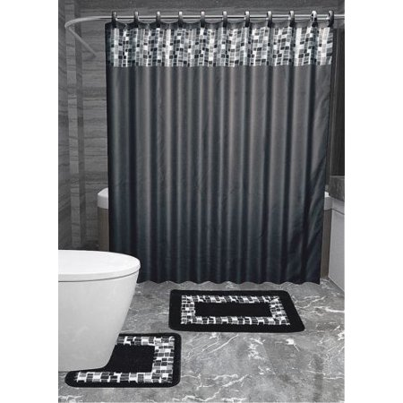 15pc BLACK MOSAIC Bathroom Set Printed Banded Rubber Backing Rug ...