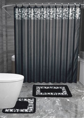 15pc BLACK MOSAIC Bathroom Set Printed Banded Rubber Backing Rug Bath Mats  With Fabric Shower Curtain