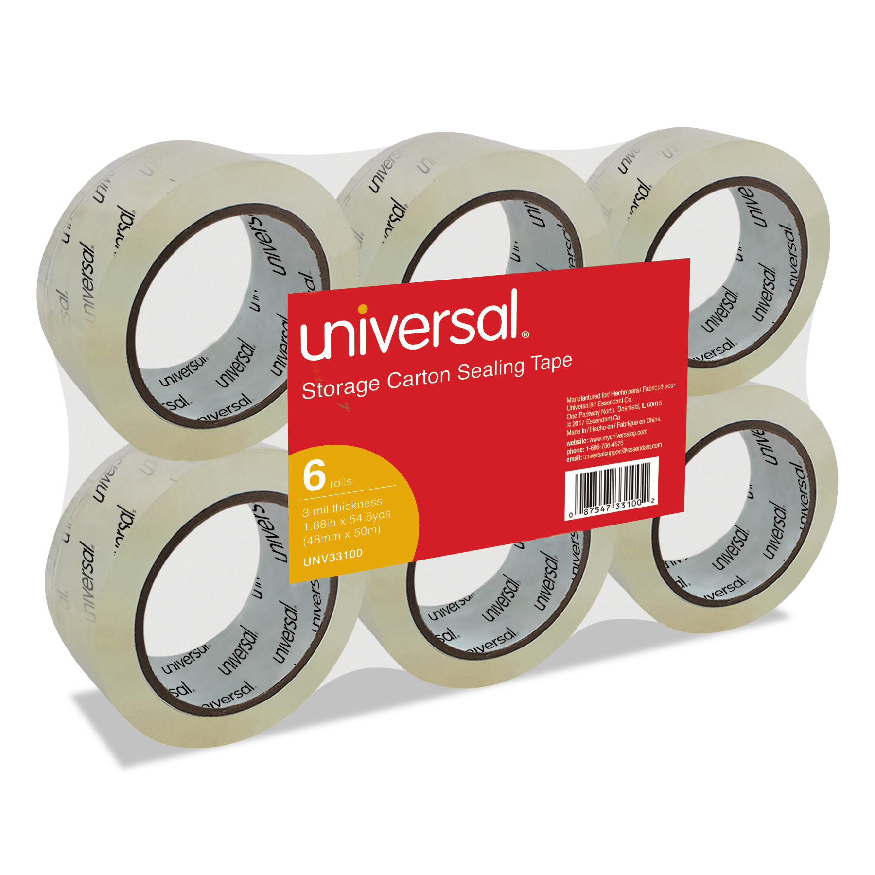 "Universal Heavy-Duty Acrylic Box Sealing Tape, 48mm x 50m, 3"" Core, Clear, 6/Pack -UNV33100"