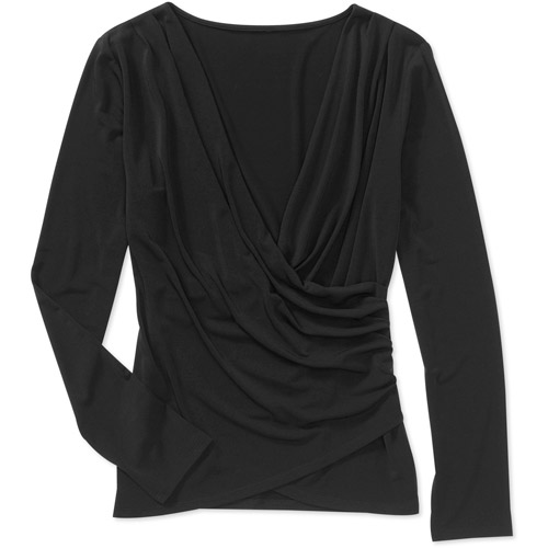 Miss Tina Women's Long Sleeve Knit Wrap Top