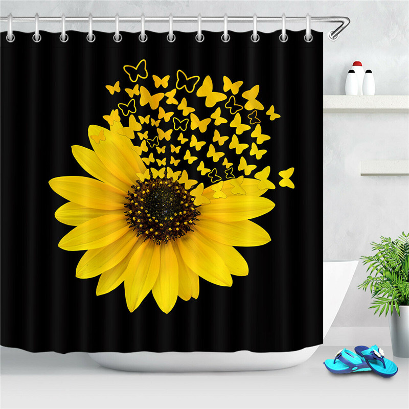 """Spring Colorful Flowers Sunflowers Blue Butterfly Fabric Shower Curtain Set 72/"""""""