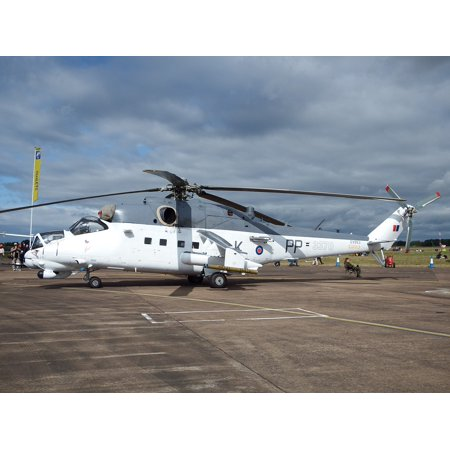Canvas Print Mi-24 Helicopter Czech Air Force Hind Gunship Stretched Canvas 10 X