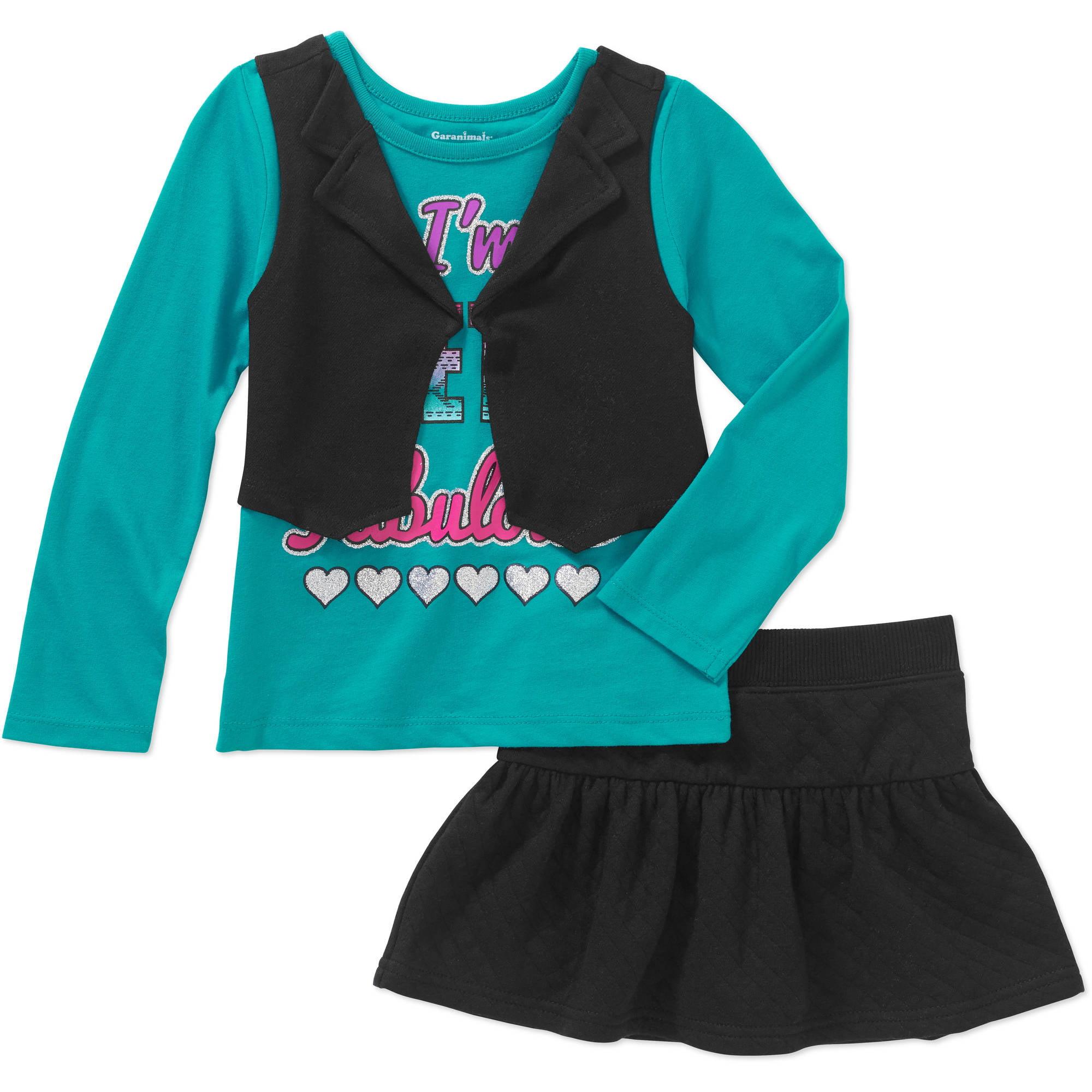 Garanimals Baby Toddler Girl 2 Pc Long Sleeve Tee w/ Vest & Quilted Skort Set