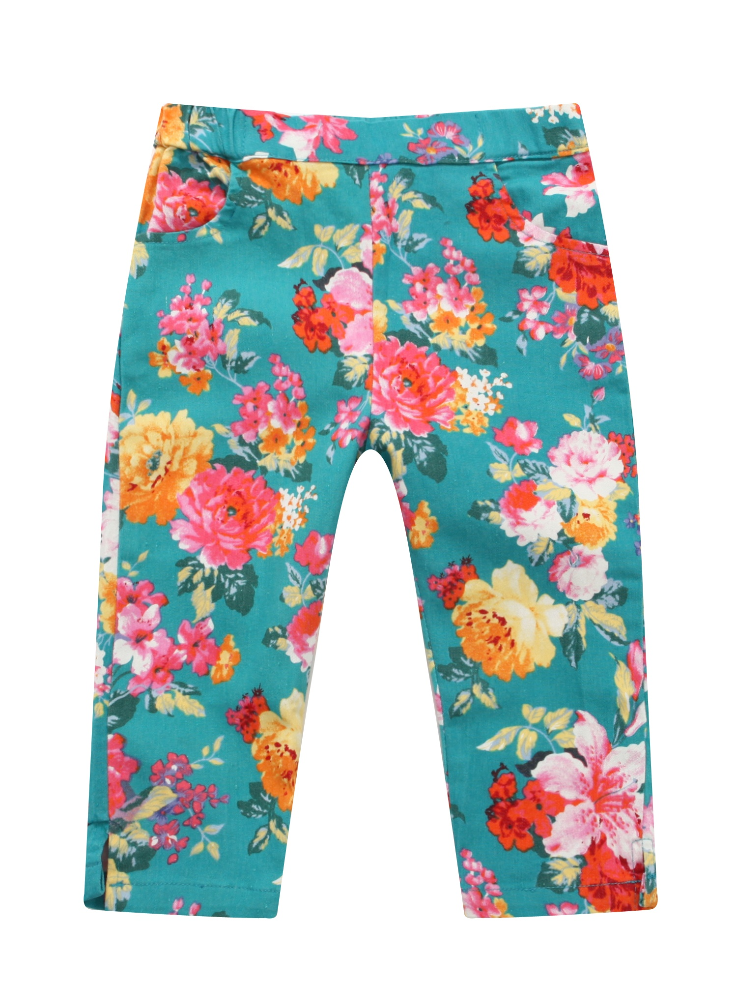 Richie House Girls' Teal Floral Print Jeans RH0642
