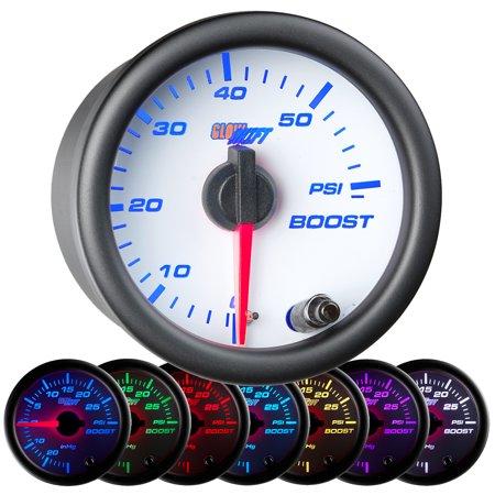 GlowShift White 7 Color 60 PSI Boost Gauge (Cobalt Boost Gauge)