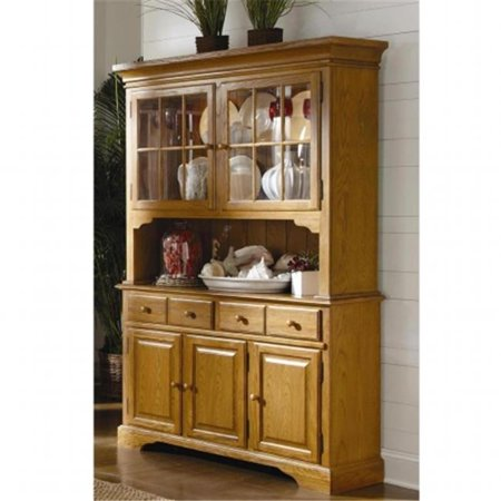 Brooks Furniture 154M Dining Room Buffet & Hutch, Medium Oak - 12.75 x 54 x  17 in.