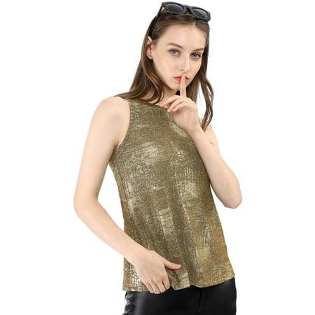 Allegra K Women's Metallic Shiny Tank Top Party Club A-Line Shimmer Camisole Vest (Size M / 10) Dark Gold ()