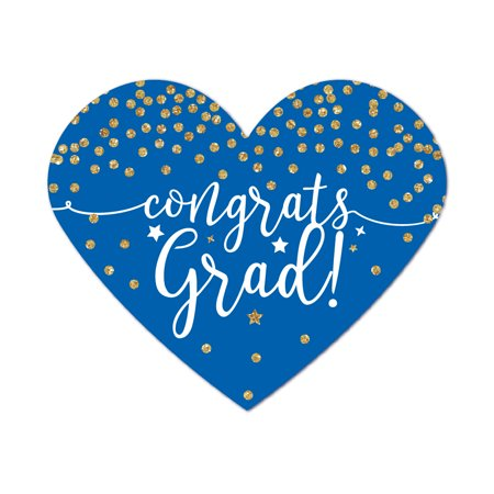 Royal Blue and Gold Glittering Graduation, Heart Label Stickers, Congrats Grad!, 75-Pack