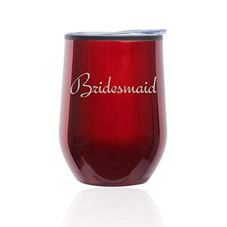 Stemless Wine Tumbler Coffee Travel Mug Glass with Lid Bridesmaid Bachelorette Wedding (Red) - Bachelorette Tumblers
