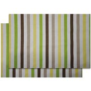 Bacati - Mod Stripes Crib Toddler Bed Fitted Sheets 100% Cotton Percale, Green Yellow Choc, 2-Pack
