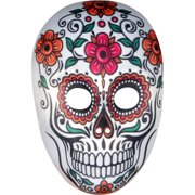 Star Power Day of the Dead Sugar Skull Face Mask, White Multi, One-Size