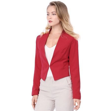 Women Collarless Office Business Casual Cropped Blazer - Kids Green Blazer