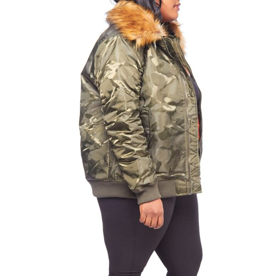 d6c043dbaef Genx - Womens Plus Size Winter Faux Fur Puffer Bomber Parka Jacket ...