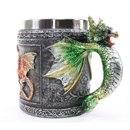 Mythical Green Royal Dragon Mug Serpent Handle Medieval Collectible Stein Halloween Magical Party Home Decor Gift New](Halloween Mud Pies)