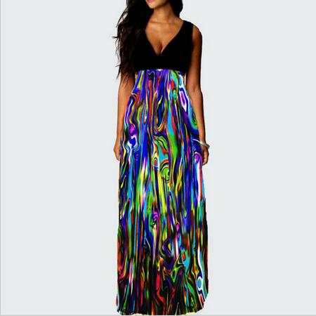 5ea032ed105f Senfloco Vintage Bohemian Dresses, Ladies Girls Beach Dresses For Summer  Evening Party, V Neck