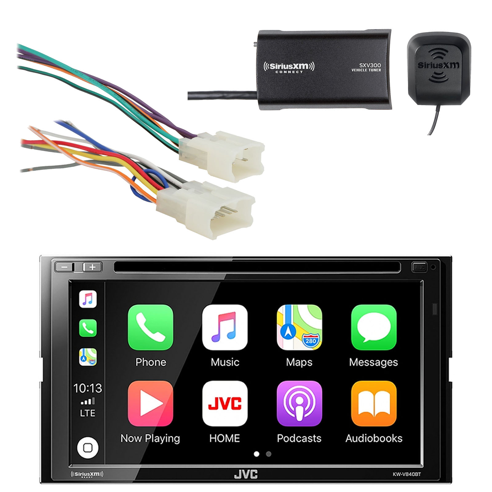 JVC 6.8 Inch LCD Touchscreen Double DIN Bluetooth In-Dash DVD/CD/AM/FM Car Stereo Receiver with Metra Radio Wiring Harness For Toyota 87-Up Power 4 Speaker & SiriusXM Satellite Radio Vehicle Tuner Kit
