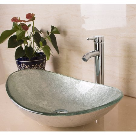 US Bathroom Vanity Art Oval Glass Vessel Sink Basin Faucet Popup Drain Combo (Glass Sink Vanity Set)