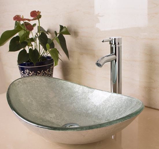 US Bathroom Vanity Art Oval Glass Vessel Sink Basin Faucet Popup Drain Combo NEW