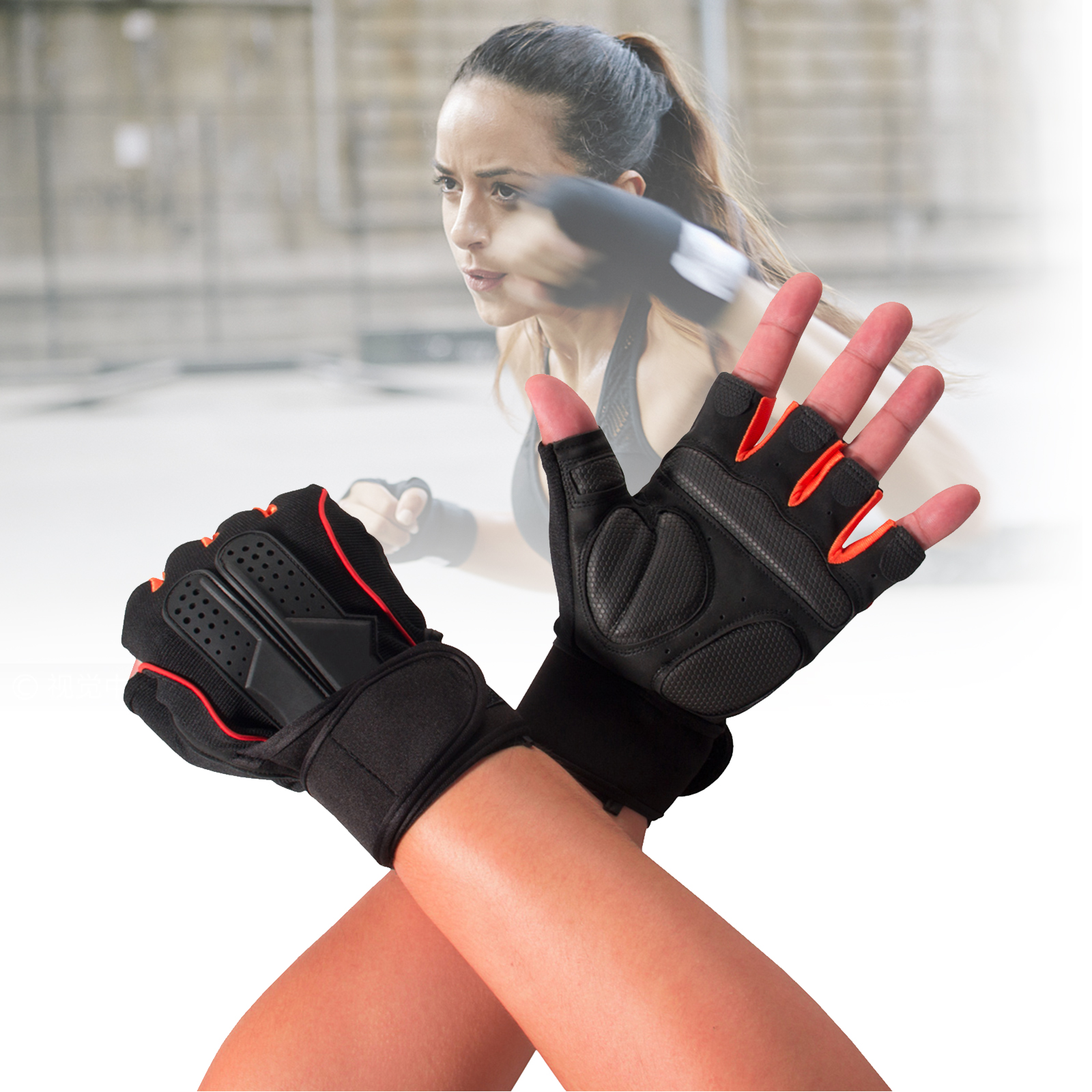 TSV Non-Wristwrap Weight Lifting Gloves with Anti-slip Silica Gel Grip & Adjustable Velcro