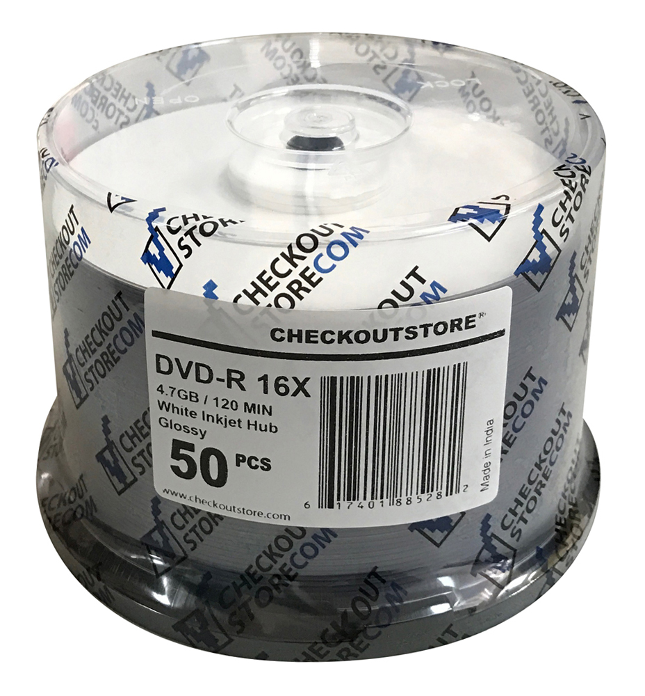 (200) CheckOutStore® Premium 16x DVD-R 4.7GB in Spindle (Glossy White Inkjet Hub)