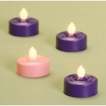 Set of 4 LED Lighted Christmas Advent Purple and Pink Tea Light Candles