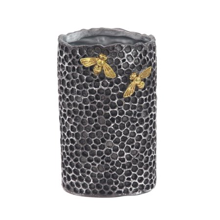 (Decmode Modern Honeycomb and Bees Resin Vase, Gray, Gold)