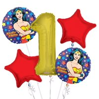 Wonder Women Balloon Bouquet 1st Birthday 5 pcs - Party Supplies, 1 Giant Number 1 Balloon, 34in By Viva Party