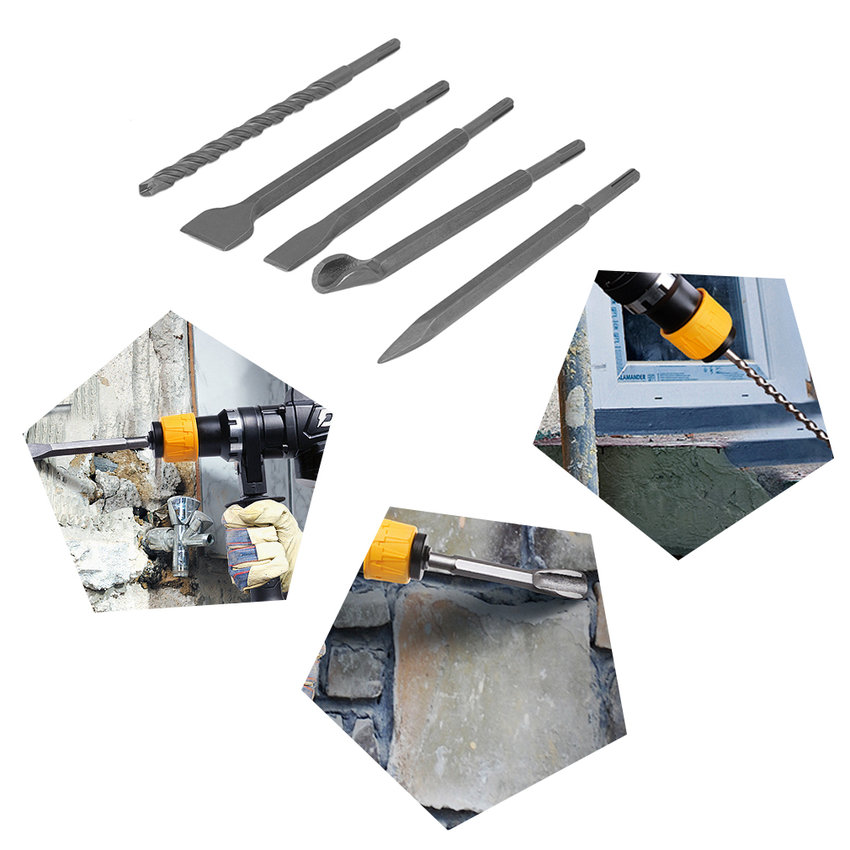 17PCS Electric Hammer Drill With Chisel Set For SDS Hammer Drilling Tool