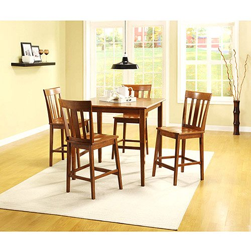 Mainstays 5-Piece Counter Height Dining Set, Warm Cherry Finish ...