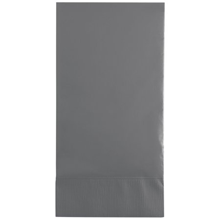 Club Pack of 192 Glamour Gray 3-Ply Solid Rectangular Guest Towels 16