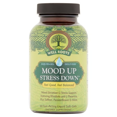 Well Roots Mood Up Stress Down Liquid Gel Delivery Fast Acting Liquid Soft Gels  60 Count