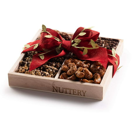 Nuttery Specialty Chocolate & Nuts Classic 4 Section Holiday Gift Tray-Christmas Red Ribbon Mega Gift Basket ()